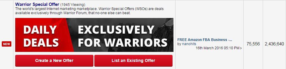 warrior forum special offers