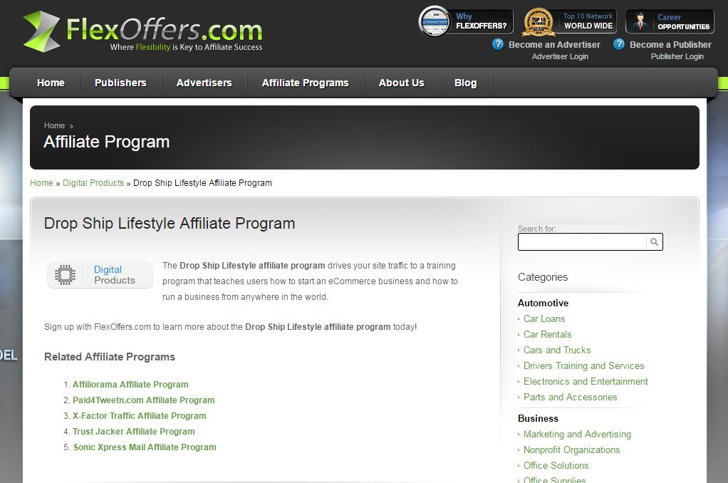 drop ship lifestyle affiliates