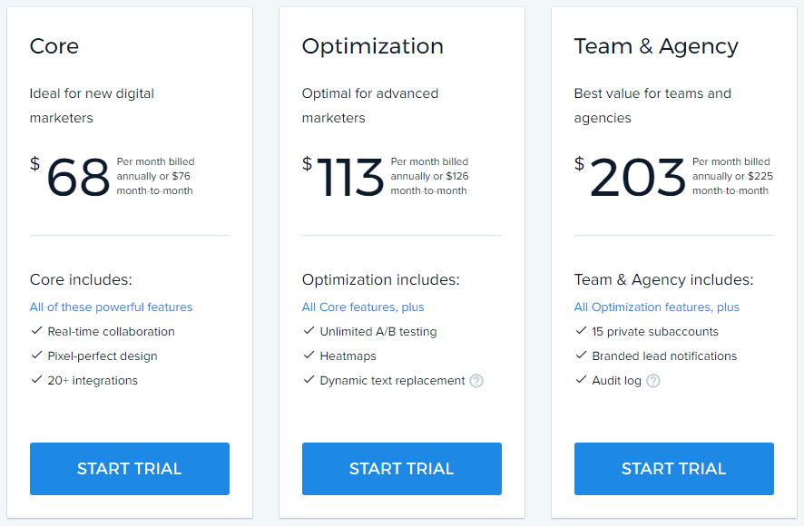 instapage pricing upgrade